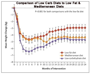 Comparison of low carb vs low fat weight loss